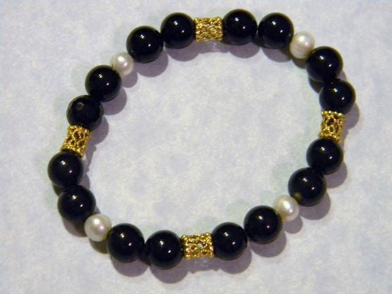 Onyx, Pearl and Gold Filigree Bead Stretch Bracelet