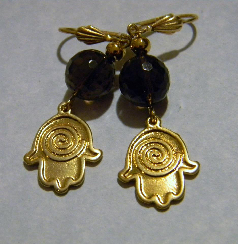 Smoky Quartz, Brass and Gold Bead Hamsa Earrings