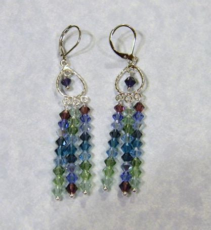 Shades of Blue, Green & Purple Crystal Chandelier Earrings