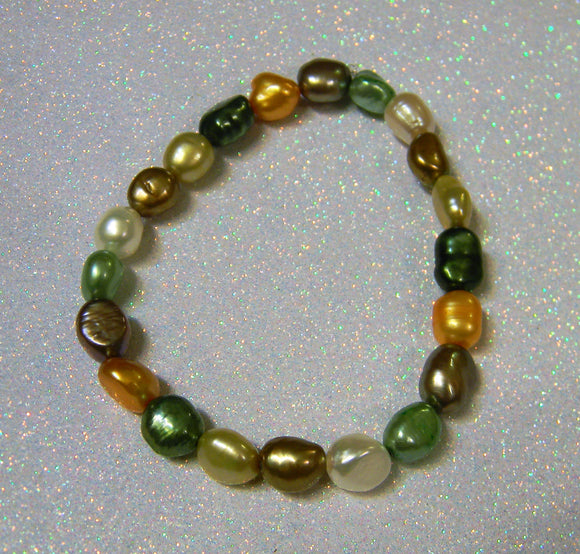 Green, Brown, Yellow and White Freshwater Pearl Stretch Bracelet