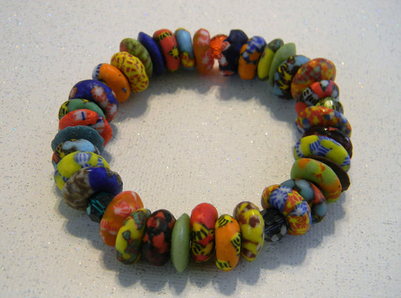 African Multicolored Krobo Doughnut Bead, Ashanti Disk, Crystal and CZ Stretch Bracelet