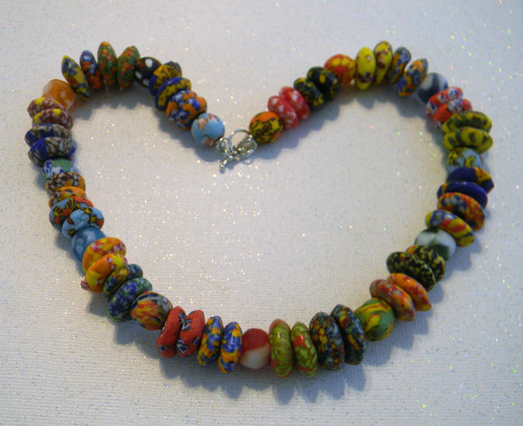 Rainbow Multicolor African Krobo Doughnut Spacer and Round Bead Necklace