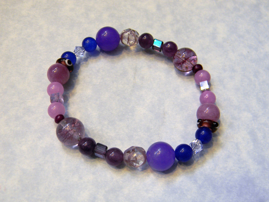 Shades of Purple & Lavender Gemstone, Crystal and Glass Bead Stretch Bracelet