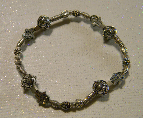 All Silver Bali and Hill Tribe Stretch Bracelet with Jewish Star Hamsa and Evil Eye Beads