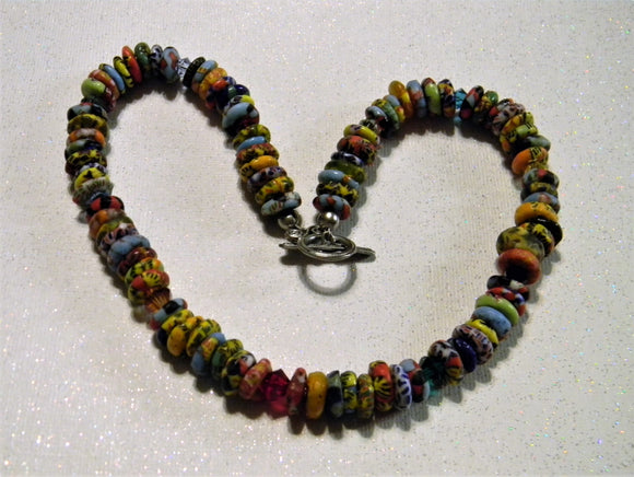 Rainbow Multicolor African Krobo Doughnut Spacer Bead and Crystal  Necklace