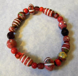Shades of Red Clay, Cathedral, Glass and Faux Cloisonné Bead Stretch Bracelet