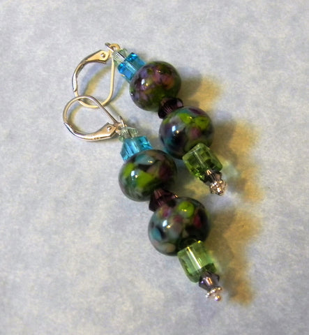 Purple, Green and Aqua Art Glass Lampwork and Crystal Drop Earrings