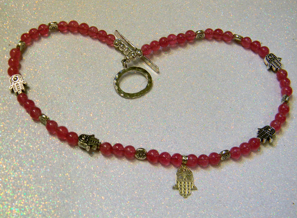 Silver Hamsa, Evil Eye Bead and Raspberry Colored Dyed Agate Necklace