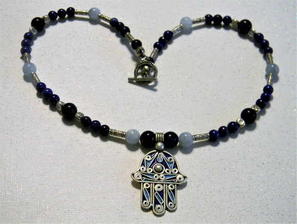 Shades of Blue Moroccan, Tuareg, Berber Hamsa, Silver and Gemstone Necklace