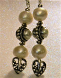 Bali Style White Pearl and Silver Drop Earrings