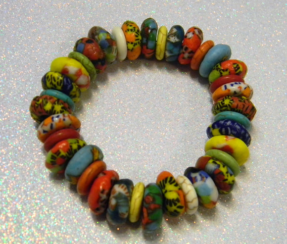 African Multicolored Krobo Doughnut Bead and Howlite Disk Stretch Bracelet