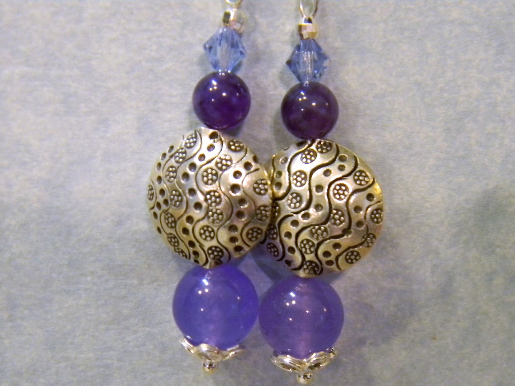 Thai Karen Hill Tribe Silver and Purple & Lavender Gemstone and Crystal Earrings