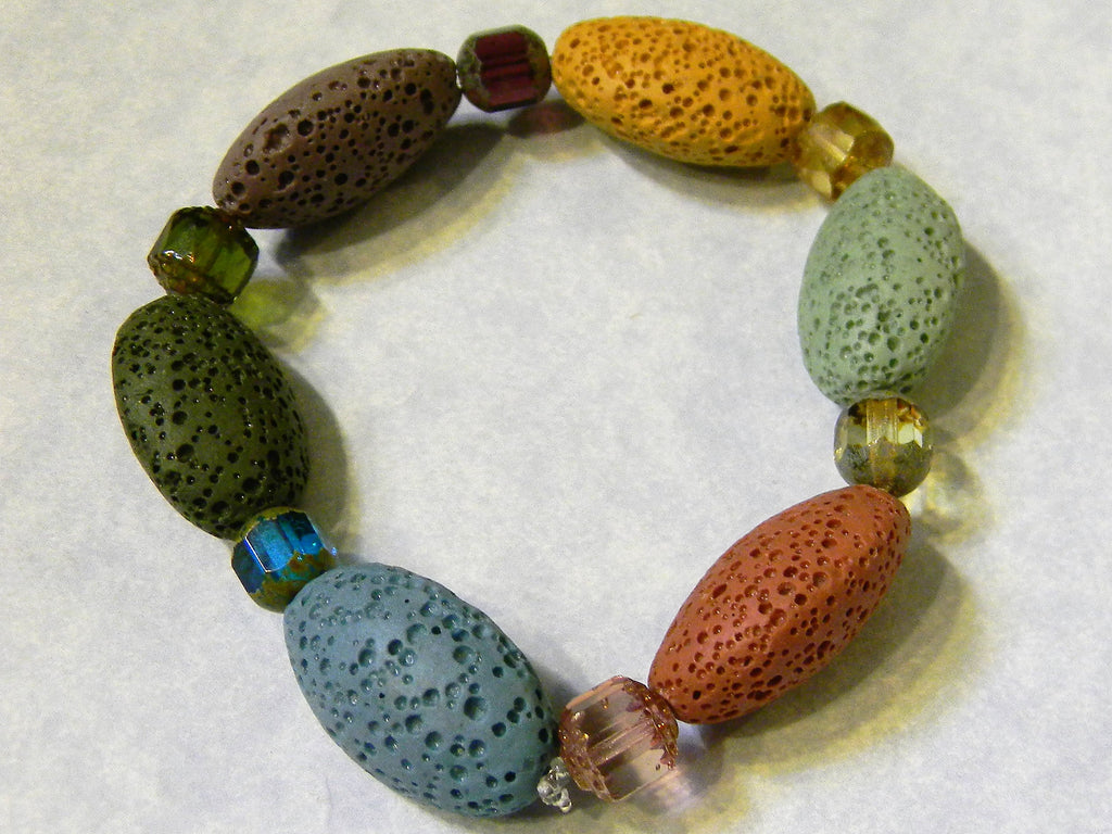 Muted Multicolor Lava Stone and Cathedral Bead Stretch Bracelet