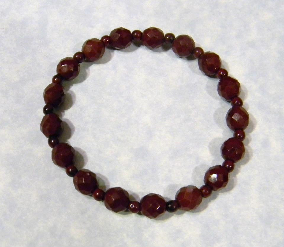 Cherrywood Colored Glass and Seed Bead Stretch Bracelet
