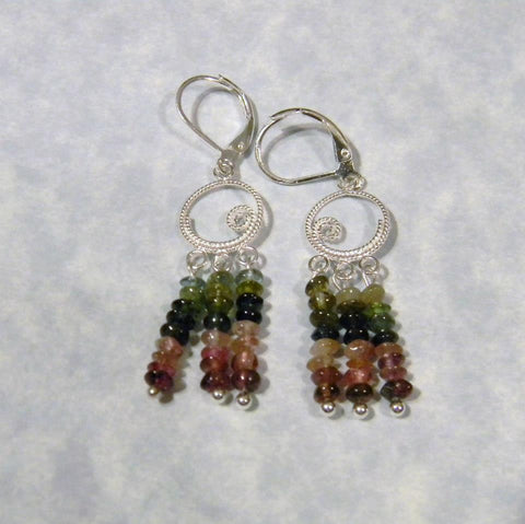 Multicolor Tourmaline Chip and Silver Chandelier Earrings