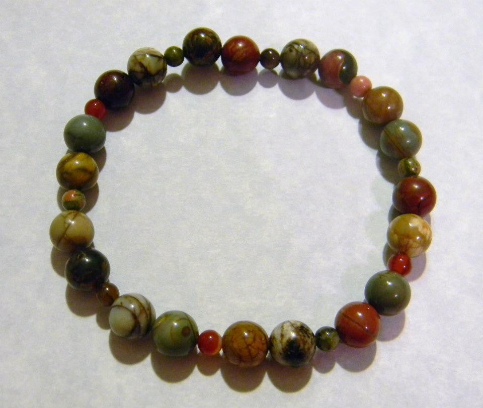 Picasso  Jasper and Opaque Gemstone Stretch Bracelet