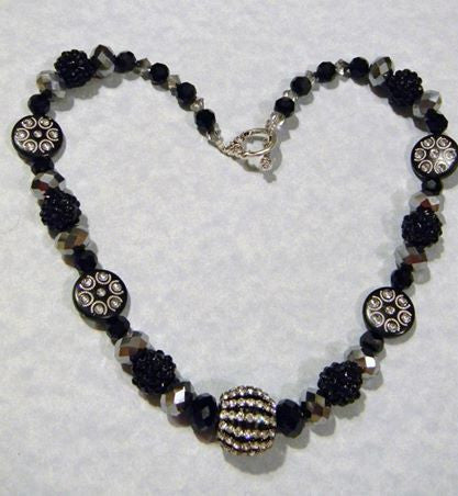 Black and Silver Crystal, Rhinestone and Acrylic Bead Necklace