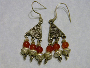 Heavy Bali Silver and Carnelian Chandelier Earrings