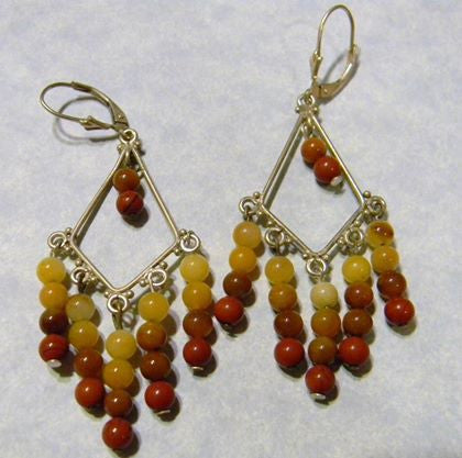 Moukaite and Silver Chandelier Earrings