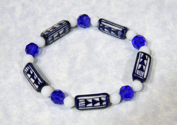 Blue and White Peruvian Ceramic Bead, Crystal and Faceted Glass Stretch Bracelet