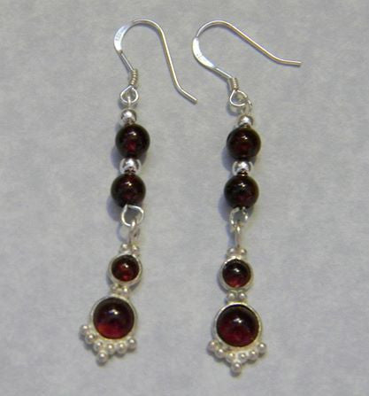 Garnet Cabochon and Silver Drop Earrings