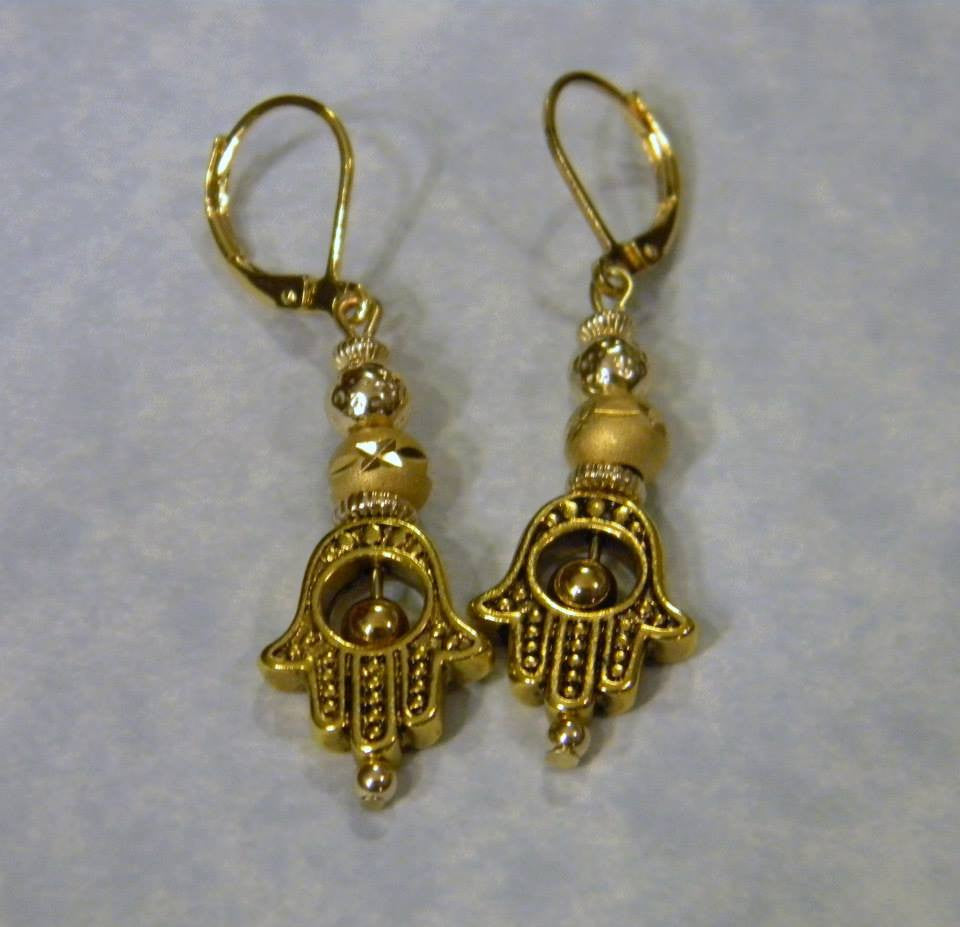 Gold Plated Hamsa Bead Frame Drop Earrings