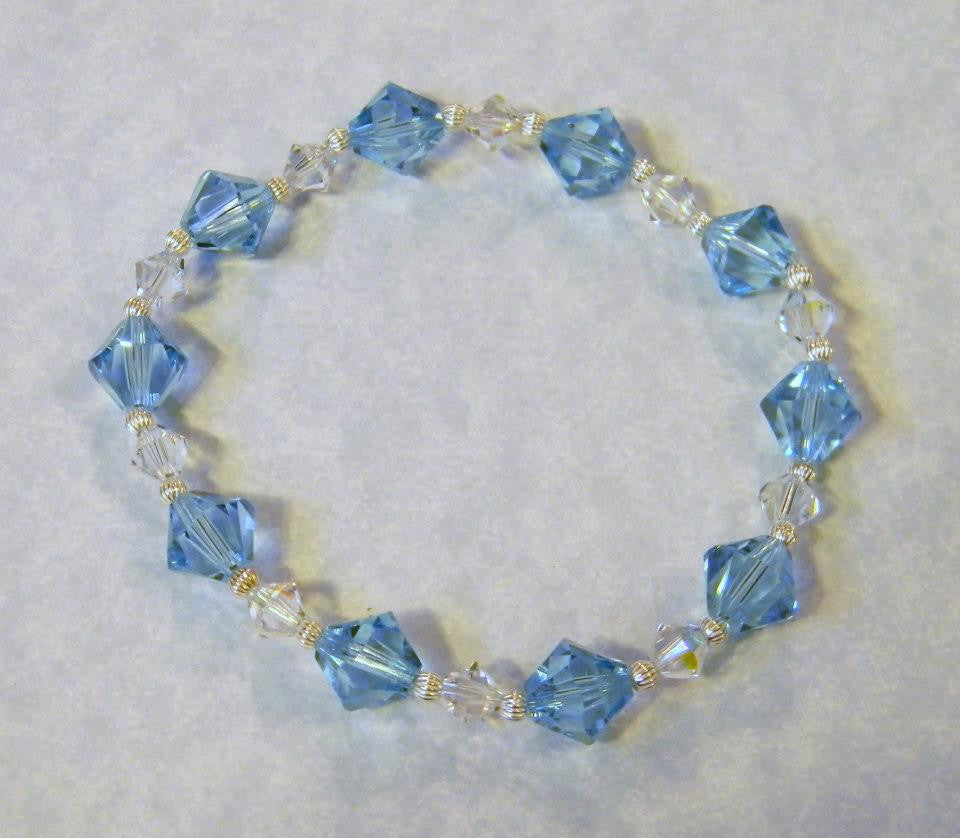 Aqua and Clear Crystal and Silver Bead Stretch Bracelet