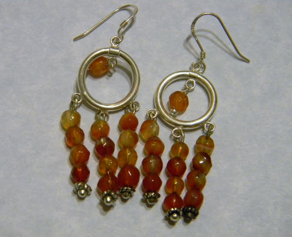Multicolor Carnelian and Silver Chandelier Earrings