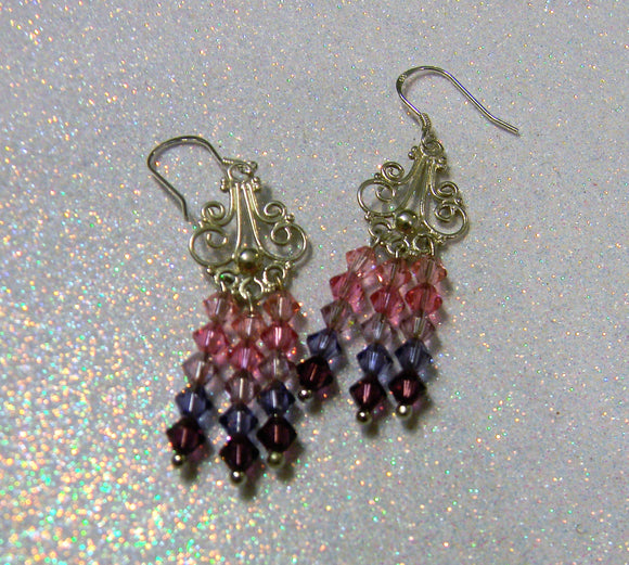 Shades of Pink and Purple Crystal and Bali Silver Chandelier Earrings