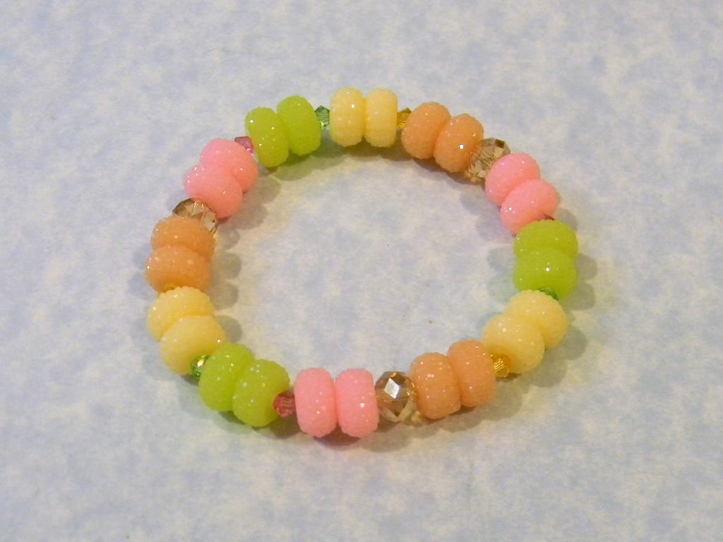 Pastel Spumoni Colored Gumdrop Acrylic, Crystal and Faceted Glass Stretch Bracelet