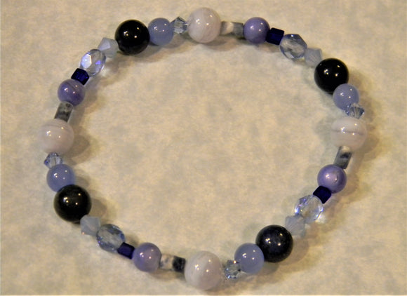 Shades of Blue Gemstone, Crystal and Glass Bead Stretch Bracelet