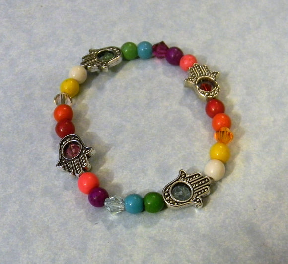Multicolor Rainbow Gemstone, Crystal and Hamsa Bead Frame Bracelet