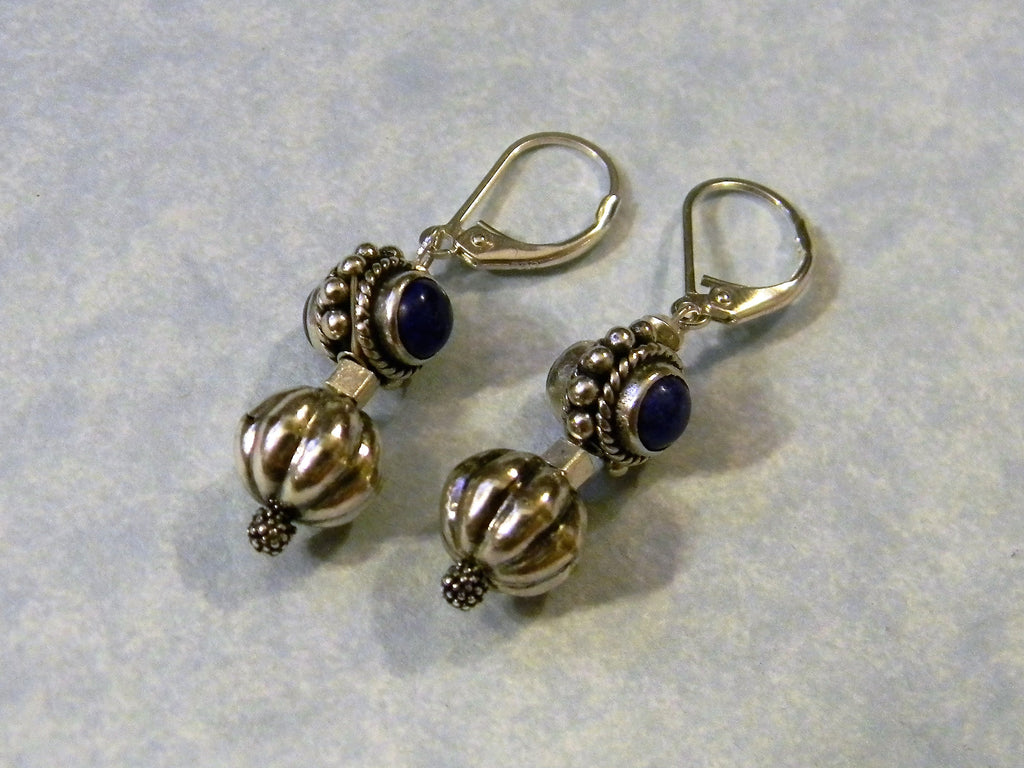 Double Sided Lapis and Bali Silver Drop Earrings
