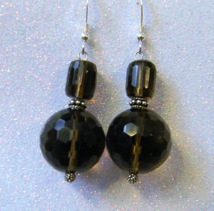 Faceted Smoky Quartz Round and Cylinder Drop Earrings with Bali Beads
