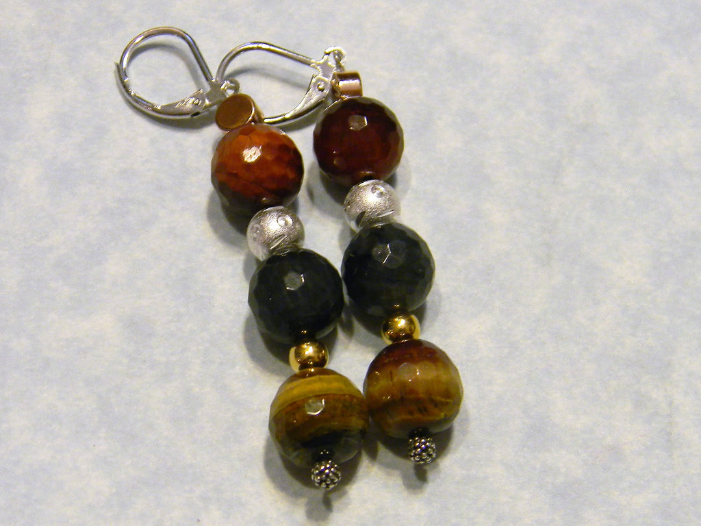 Tri-color Tiger's Eye and Tri-color Metal Drop Earrings