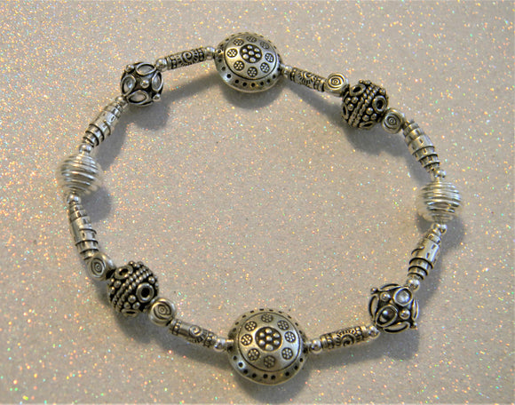 All Silver Bali Style and Hill Tribe Silver Bead and Tube Stretch Bracelet