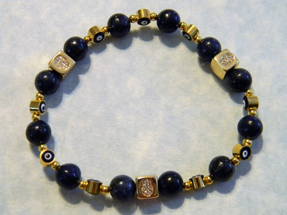 Lapis, Turkish Evil Eye and Gold Bead Hamsa Stretch Bracelet