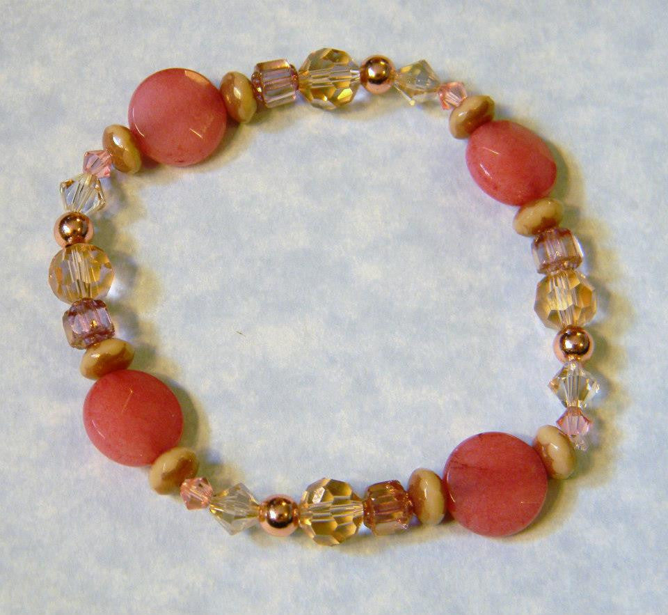 Cherry Quartz, Crystal, Givre and Cathedral Bead and Rose Gold Stretch Bracelet