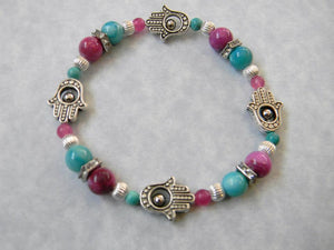 Hamsa Stretch Bracelet with Pink and Turquoise Gemstones and Silver and Platinum-clad Beads