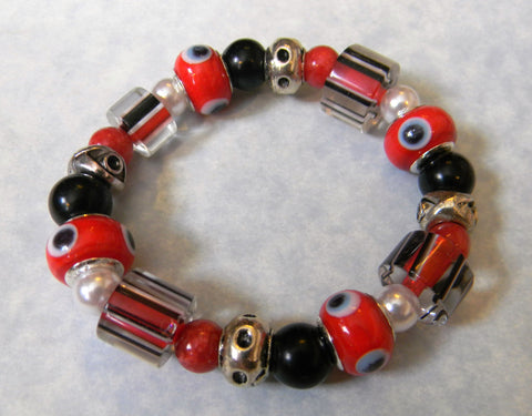 Red White and Black Evil Eye, Furnace Bead and Gemstone Stretch Bracelet