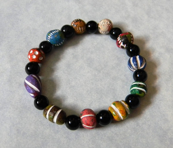 Multicolor Clay Bead and Black Jasper Stretch Bracelet