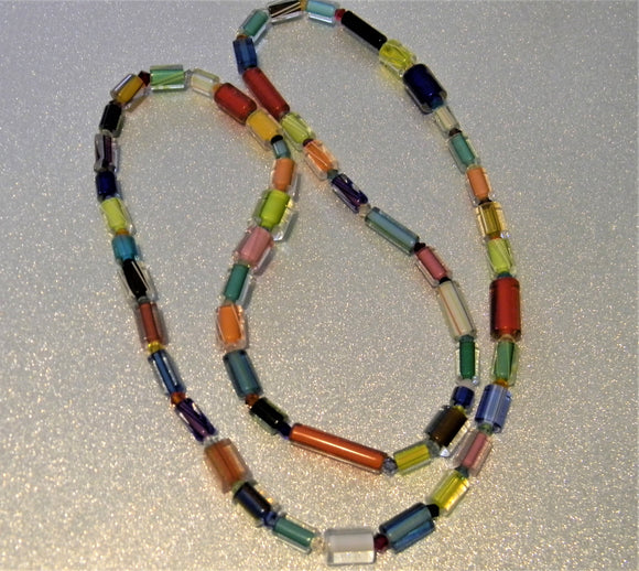 Rainbow Furnace Cane Bead and Crystal Necklace