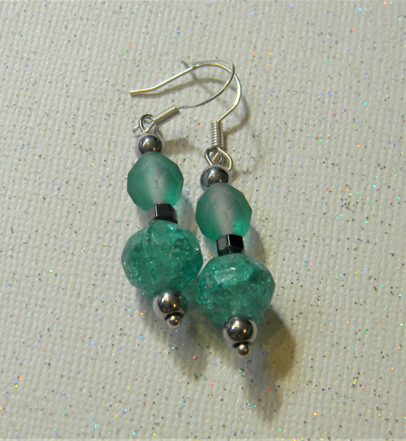Teal and Hematite Colored Glass and Acrylic Bead Drop Earrings