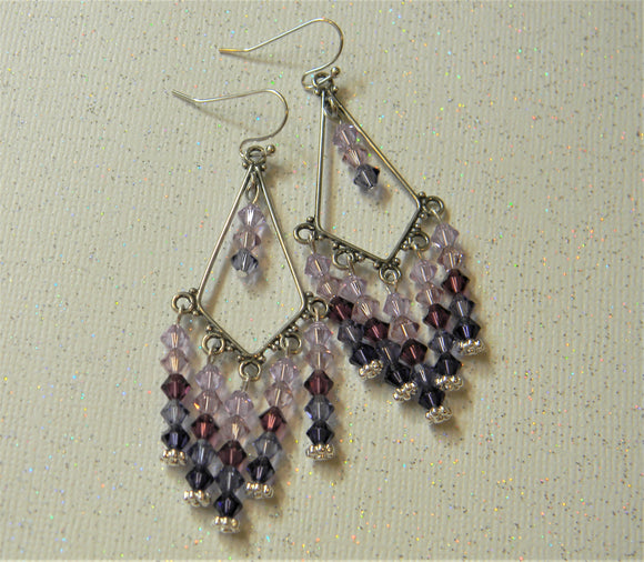 Shades of Purple Crystal Bicone and Bali Silver Chandelier Earrings