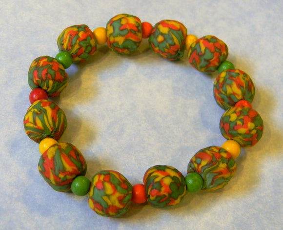 Red Yellow and Green African Krobo Powdered Glass Bead and Gemstone Stretch Bracelet