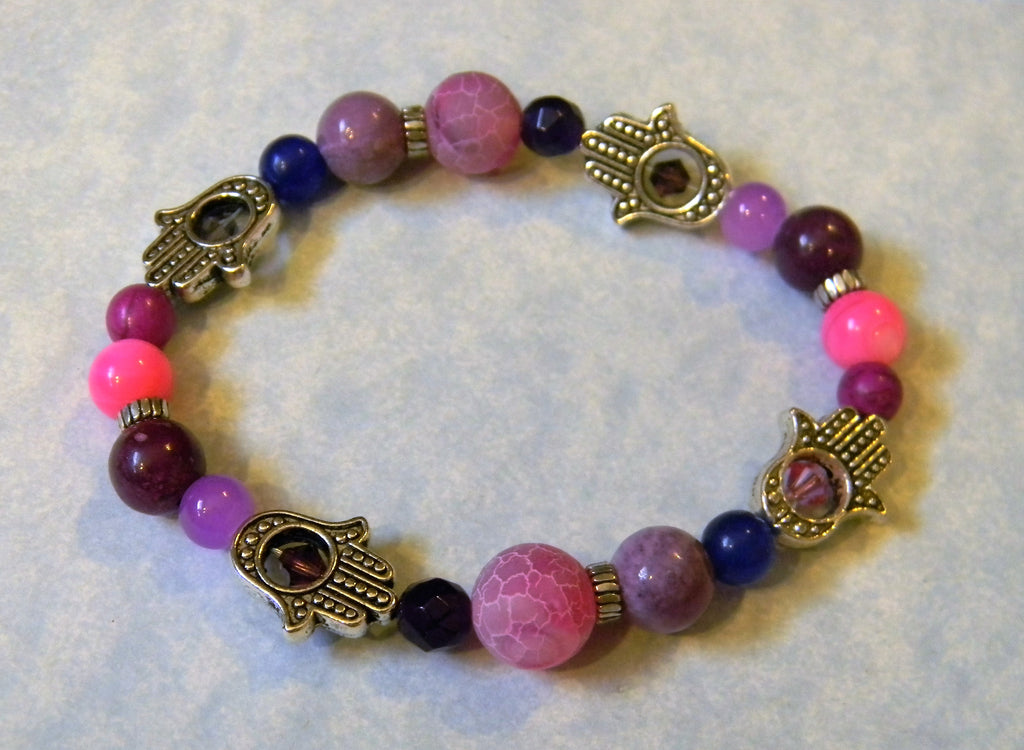 Shades of Pink and Purple Gemstone and Hamsa Bead Frame Stretch Bracelet