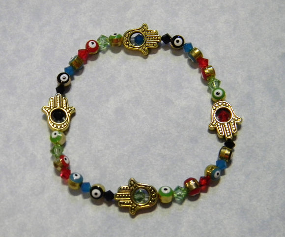 Multicolor Turkish Evil Eye, Crystal and Gold Plated Hamsa Beadframe Stretch Bracelet