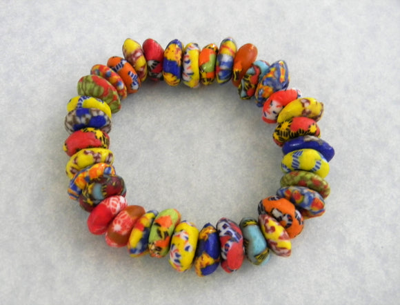 African Multicolor Krobo Doughnut Spacer Stretch Bracelet