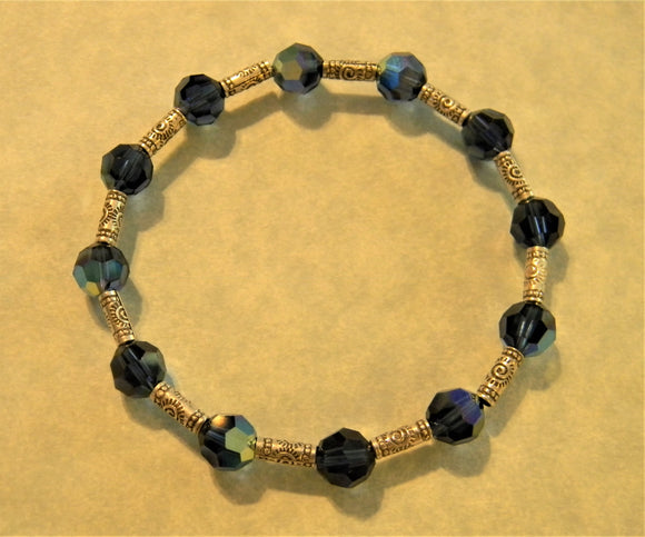 Dark Sapphire Colored Crystal and Stamped Hill Tribe Silver Tube Stretch Bracelet