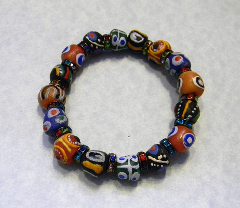 African Krobo Powder Glass Bead and Multicolor Rhinestone Spacer Stretch Bracelet